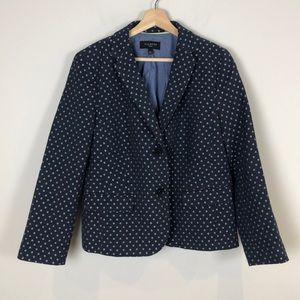 Talbots Petite 14P Blue Pattern Suit Jacket Blazer
